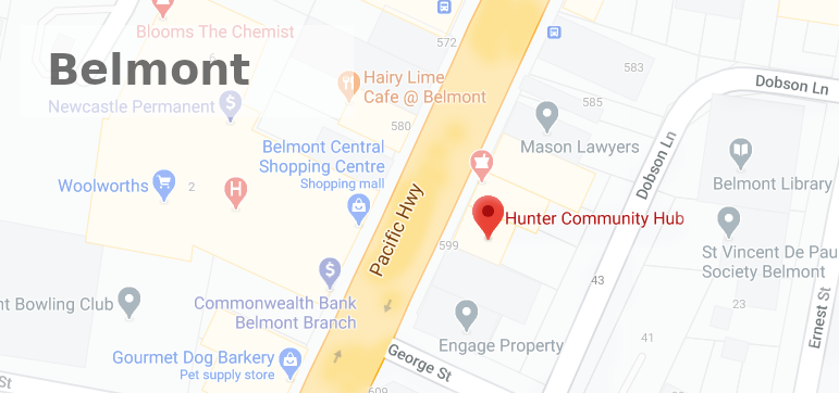 Hunter Community Hub Belmont Office Map