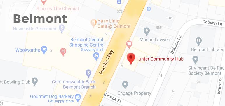Hunter Community Hub Belmont Office Map